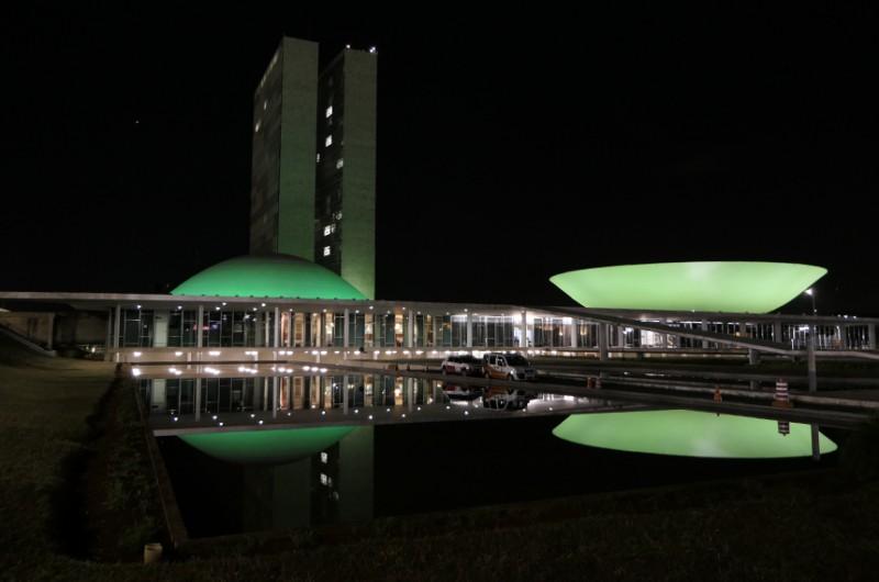 Luz verde no Palácio do Congresso (na foto, iluminação de campanha contra câncer de cabeça, em 2020) busca dar visibilidade à distrofia, uma doença rara - Roque de Sá/Agência Senado