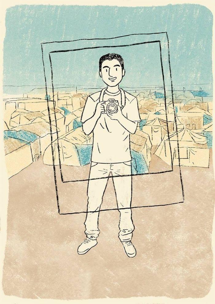 Mohamad Al Jounde pelo traço da ilustradora Fernanda Ozilak - (Foto: Fernanda Ozilak/Reprodução)