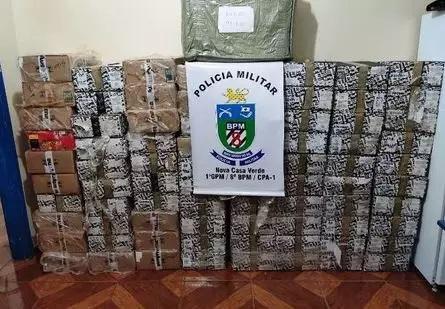 Mercadorias apreendidas pela Polícia Militar. - Crédito: (Nova Notícias)