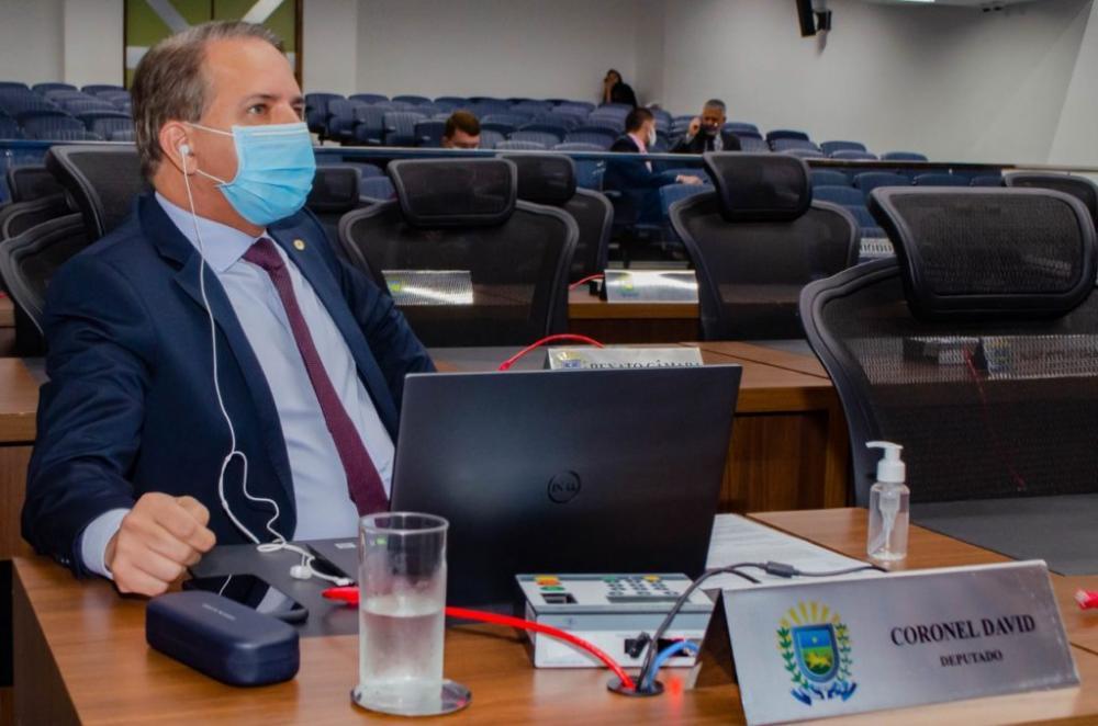 Deputado estadual Coronel David durante sessão na Assembleia Legislativa de Mato Grosso do Sul (Foto: Pedro Ernesto)