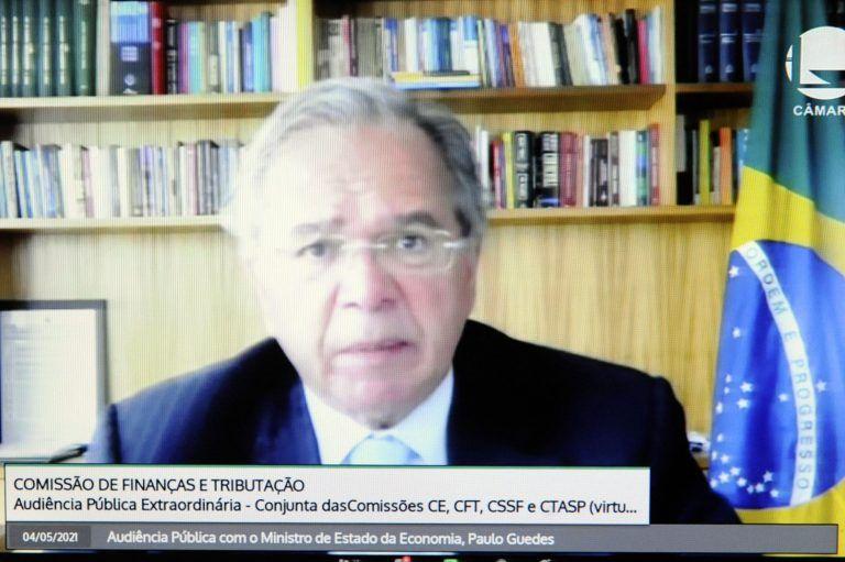 Paulo Guedes participa do debate virtualmente - (Foto: Gustavo Sales/Câmara dos Deputados)