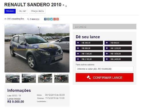 Imagem mostra veículo arrematado por vítima de Campo Grande, mas que nunca foi entregue. Foto: Reprodução
