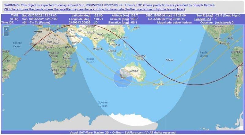 Restos do foguete devem cair perto da Austrália, segundo especialistas - (Foto: Reprodução / Satflare.com)