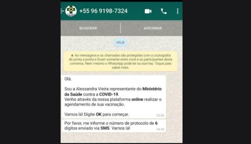 Golpistas pedem código de verificação do Whatsapp - (Foto: Reprodução)
