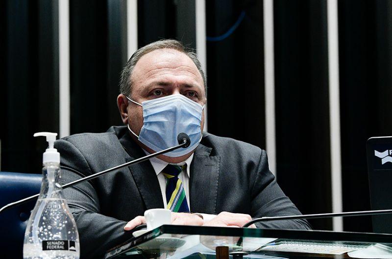 Pazuello em sessão de debate no Senado sobre falta de vacinas, em fevereiro - Pedro França/Agência Senado