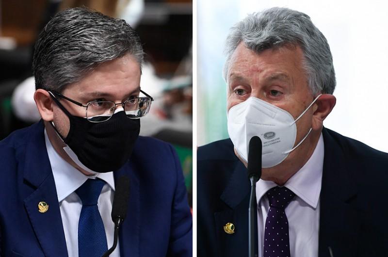 Alessandro Vieira e Luis Carlos Heinze em reunião da CPI na terça-feira - Jefferson Rudy e Edilson Rodrigues/Agência Senado