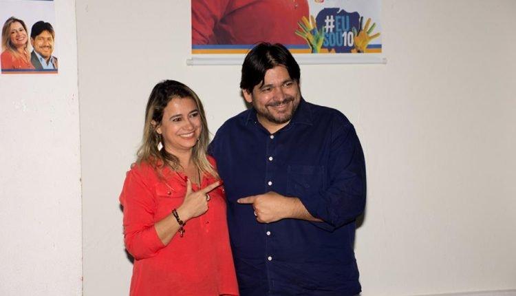 Gilsienny Arce Munhoz e Wilton Acosta, presidente do PRB. (Foto: Arquivo Pessoal/Reprodução/Facebook)