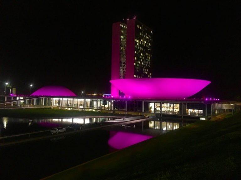 O prédio do Congresso costuma ser iluminado para chamar atenção para temas atuais - (Foto: Pierre Triboli)
