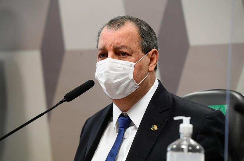O presidente da CPI, Omar Aziz, na reunião desta terça-feira - Marcos Oliveira/Agência Senado